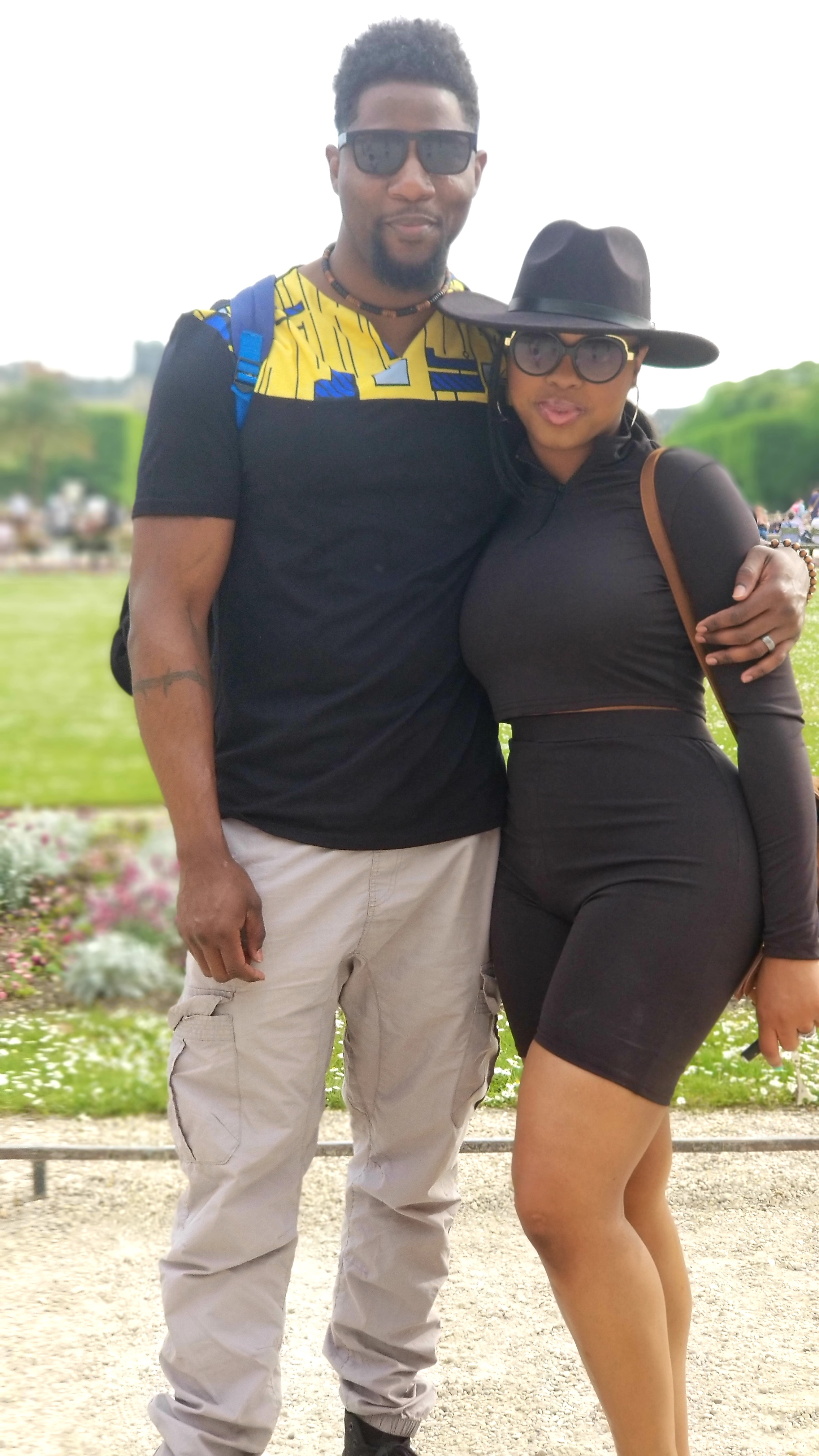 black couple luxury travel Luxembourg garden Paris